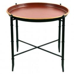 Table métal ronde rouge :...