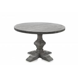 Table ronde en bois grisé