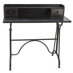 Bureau en métal noir vieilli