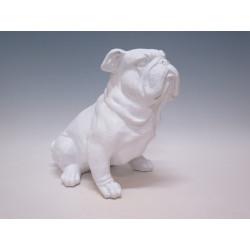 Bulldog résine blanche 29 H